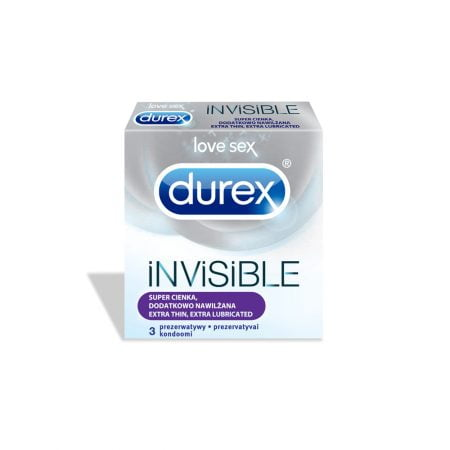 DUREX Invisible Extra Lubricated prezervatīvi, 3 gab. 2