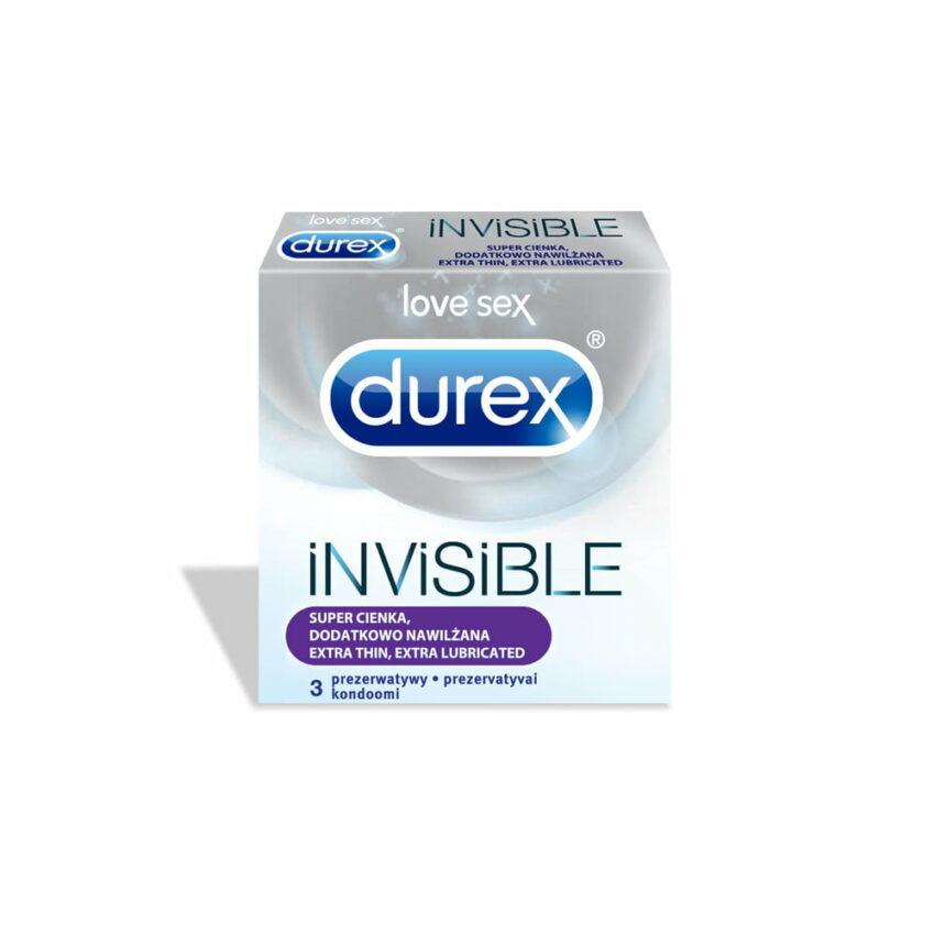 DUREX Invisible Extra Lubricated prezervatīvi, 3 gab. 1