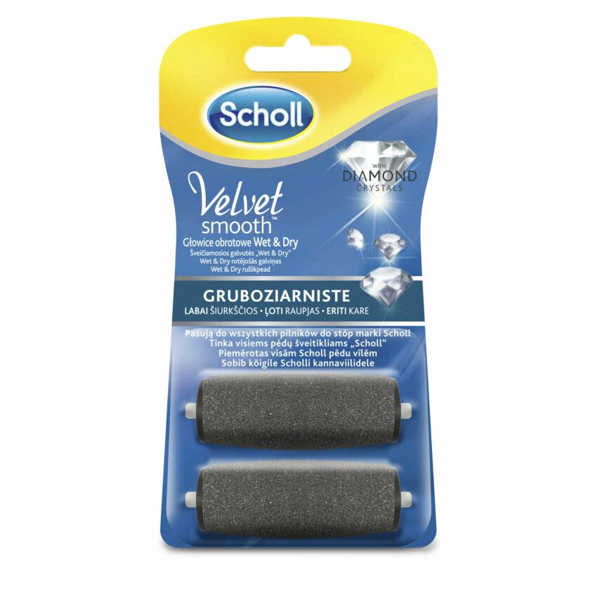 Scholl Velvet Smooth rotējošās galviņas ar dimanta kristāliem, 1 īpaši raupja + 1 smalka, 2 gab. 1