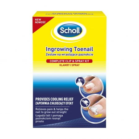 Scholl Ingrowing Toenail complete clip & spray kit - ieauguša kājas naga ārstēšanas komplekts ar skavām un dzesējošu aerosolu 3