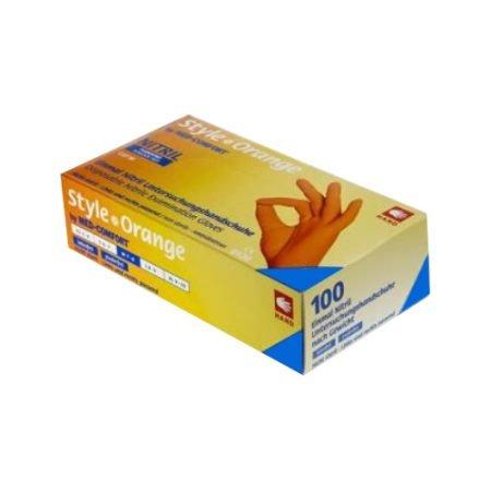 AMPri nepūderēti nitrila cimdi apelsīnu krāsā (maza izmēra) 3