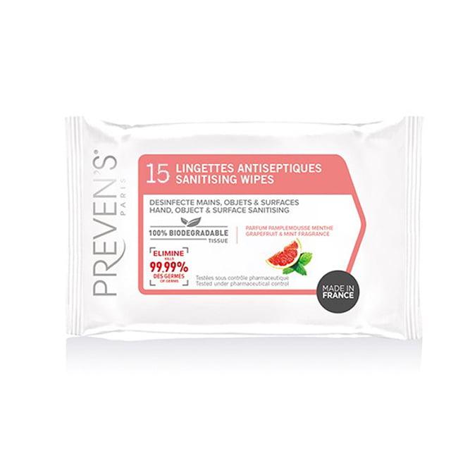 Preven's Paris antibakteriālās mitrās salvetes rokām ar greifrūta aromātu, N15 1