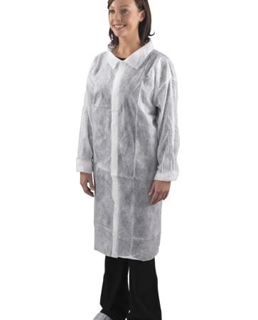 Halāts polipropilēna ar Velcro līplentes aizdari, balts, XL izmērs 2