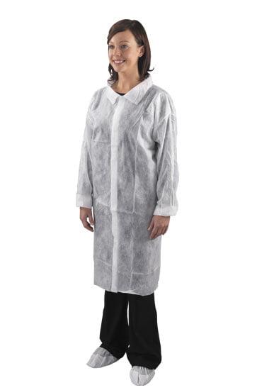 Halāts polipropilēna ar Velcro līplentes aizdari, balts, XXL izmērs 1