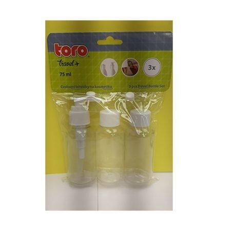 Дорожный комплект пластмассовых бутылочек - 3шт (общий объём - 225мл) 3